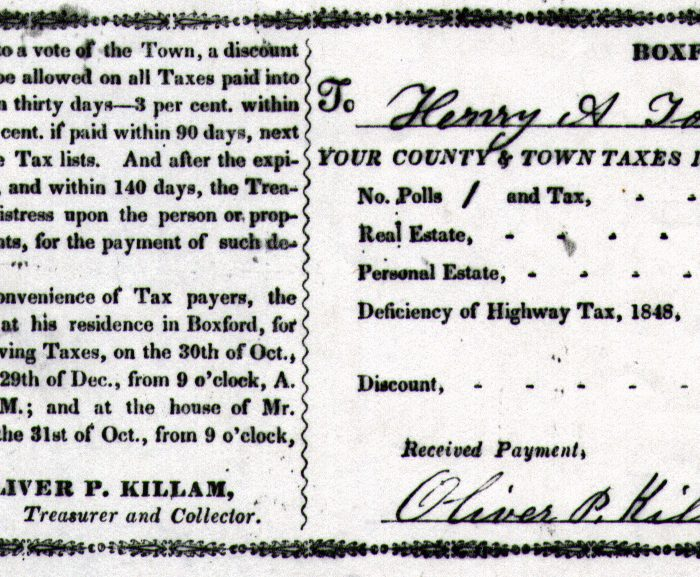 In 1849, Henry A. Towne owed $9.04 in taxes to the Town of Boxford.